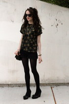 black black H&M shorts - sheer top - shoes audrey brookes wedges