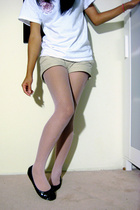 t-shirt - Lilu shorts - Betsey Johnson tights - Jessica Simpson shoes