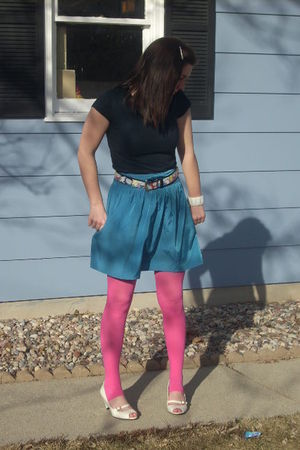 blue Urban Outfitters skirt - pink Walmart tights - white payless shoes - black