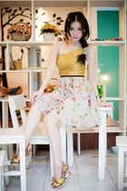 floral heels - floral scarf - gold bodysuit - pink floral skirt