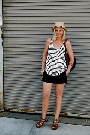 Jcrew shorts - Joie top - Express hat - Target shoes - Andrea Brueckner purse
