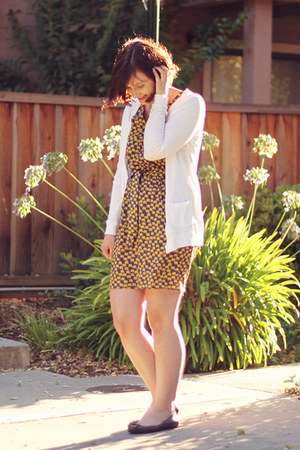 mustard elephants modcloth dress - white Forever 21 cardigan
