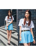 light blue Sheinsidecom skirt