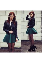 Green skirt & rivet jacket