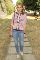 peach Oggi blouse - eggshell Zara shoes - blue Bershka jeans