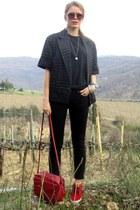 Zara jeans - Sisley jacket - Zara bag - Bershka sunglasses - nike sneakers