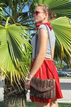 crimson Bershka bag - brick red Bershka sunglasses - tawny H&M belt - navy Bersh