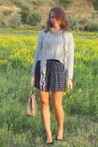 navy Mango skirt - periwinkle H&M cardigan - black levante top - black H&M flats