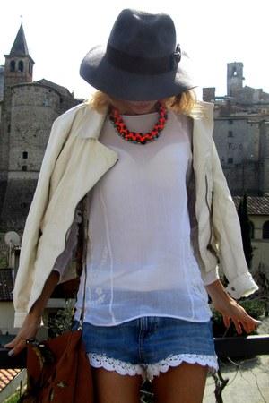 H&M hat - Zara jacket - Segue bag - H&M shorts - Miu Miu sunglasses