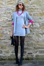 Oodji-dress-oodji-blazer-stradivarius-tights-gucci-sunglasses-zara-heels