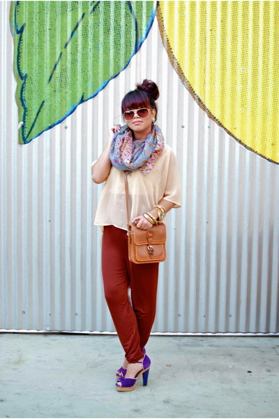 light purple Forever 21 scarf - tawny vintage Dooney & Bourke purse