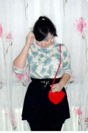 red Primark bag - black Zara skirt - light blue Zara jumper - black H&M belt