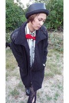 red bowtie thrifted tie - black Jeffrey Campbell boots - gray thrifted coat