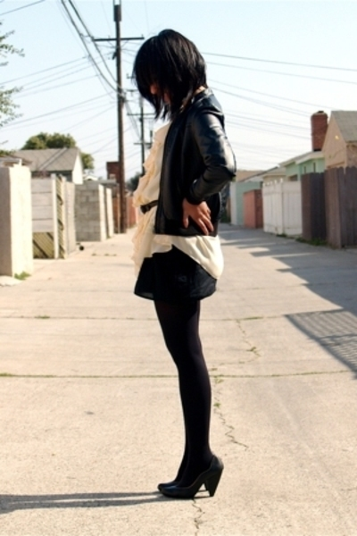 H&M jacket - vintage blouse - UO dress - Target stockings - Seychelles via UO sh