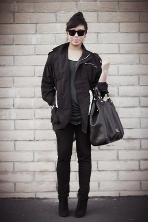 black Zara boots - black Uniqlo leggings - forest green Zara shirt