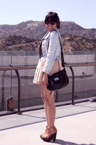 light blue H&M jacket - black Marc by Marc Jacobs purse - beige Zara skirt - bro