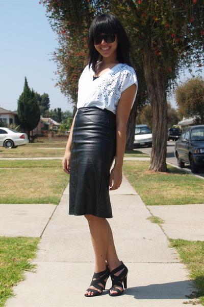black H&M t-shirt - black Target shoes - white Zara shirt - black f21 sunglasses