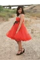red H&M x Lanvin dress - black H&M wedges