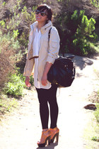 beige H&M jacket - black Zara leggings - black Marc by Marc Jacobs purse - off w