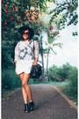 Black-h-m-hat-black-steve-madden-heels-white-zara-skirt