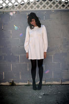 white vintage dress - black Target tights - H&M shoes - black UO accessories