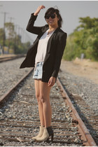 beige H&M boots - black H&M blazer - beige H&M shirt - light blue H&M shorts
