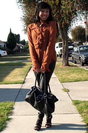 brown vintage blouse - black Target shoes - black H&M purse