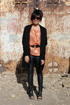 black Zara cardigan - orange H&M blouse - black Urban Outfitters pants - black T