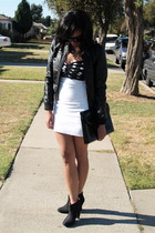 h&m divided jacket - nasty gal vintage dress - UO shoes - H&M purse
