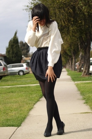 vintage sweater - H&M skirt - Target tights