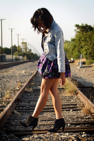 blue H&M Trend jacket - black Urban Outfitters shoes - purple Topshop dress