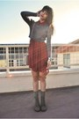 Light-brown-paulette-mia-shoes-boots-brick-red-shirt-lush-dress