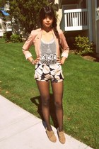 light pink H&M blazer - pink hardcouture shorts - ivory crochet Shopjoellenlove