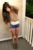 bronze crochet H&M sweater - blue ombre stud Runway Dreamz shorts - dark brown t