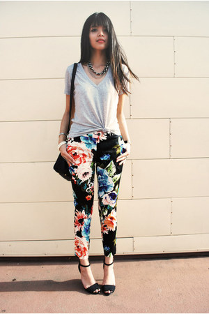 coral floral H&M pants - black Mimi Boutique bag - silver chain LYLIF necklace