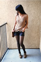 tawny saddle Goodwill bag - black leather Forever 21 shorts - light brown croche