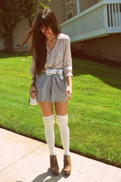 heather gray Urban Outfitters shorts - ivory ruffle OzoneSockscom socks