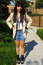 beige vintage jacket - blue liz claiborne blouse - blue DIY shorts - black Jeffr