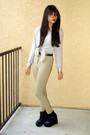 Tan-american-apparel-pants-black-haylily-shoes-heather-gray-thrifted-blouse