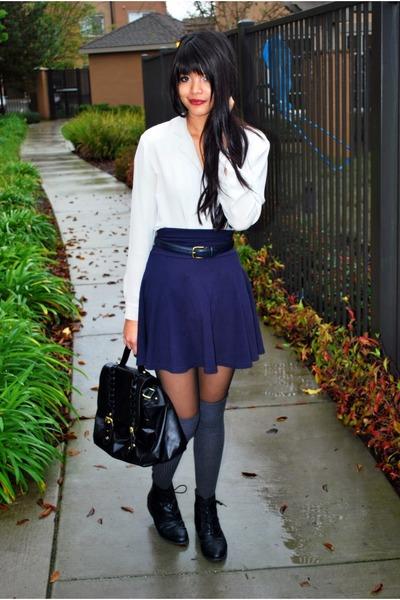 black oxfords Forever 21 boots - black satchel H&M bag