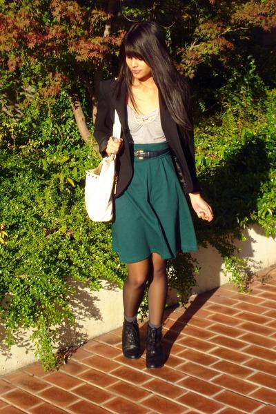 black vintage blazer - black oxford Forever 21 boots
