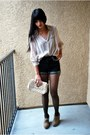 Light-pink-h-m-blouse-black-topshop-shorts-tan-forever-21-wedges-peach-aso