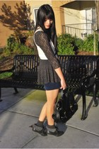 black satchel H&M bag - navy Forever 21 skirt - black boot H&M wedges - black fr