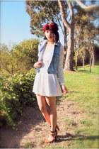 denim Levis vest - lace bow beginning boutique dress