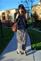 light pink H&M skirt - black vintage blazer - gray DIY top - heather gray Jeffre