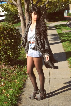 gray Ambiance cardigan - heather gray foxy platforms Jeffrey Campbell shoes