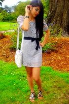 silver H&M dress - black 579 shoes - beige Nine West bag - courtesy of mom acces