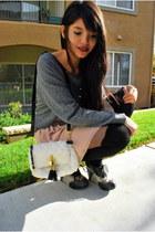 white crossroads - charcoal gray H&M sweater - tan American Apparel skirt - blac
