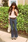 Navy-flare-h-m-jeans-ivory-goodwill-vinyl-thrifted-bag-dark-brown-thrifted-b