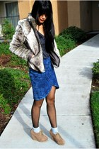 brown asos coat - blue free people skirt - gray Forever 21 shirt - tan Forever 2